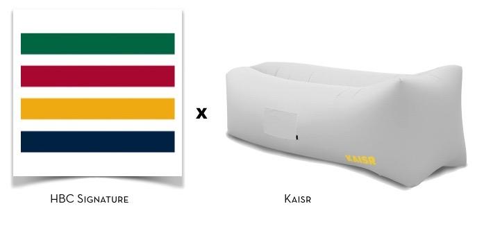 HBC Signatures Stripes plus Kaisr air sofa    via The Design Edit