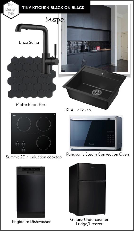 Tiny Kitchen Black on Black || via The Design Edit