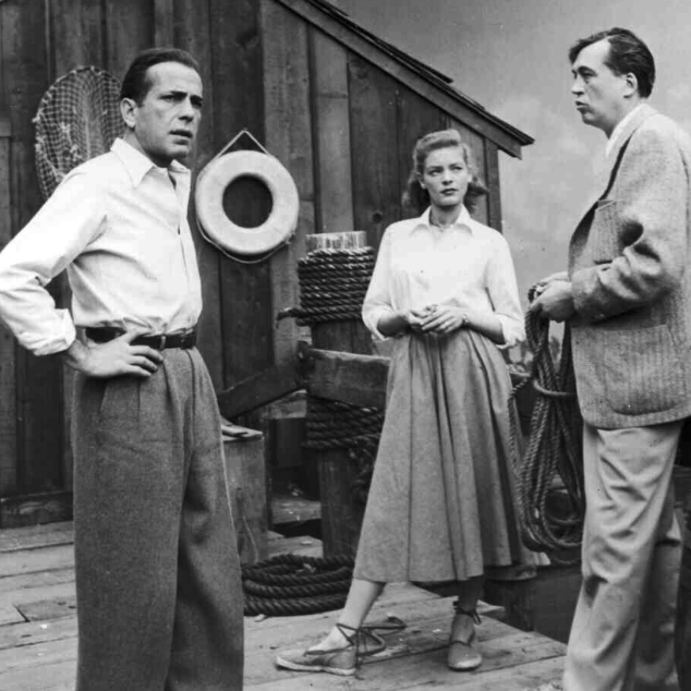 Lauren Bacall in espadrilles on the set of Key Largo || via The Design Edit