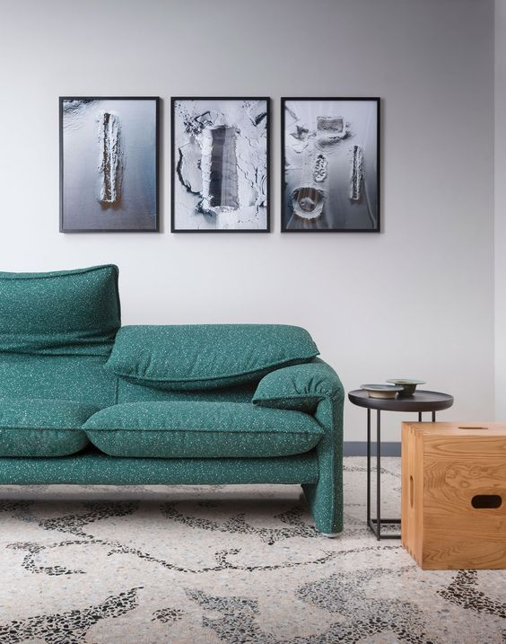 "Another Cassina image. Love the use of the photo studio ""apple box"" as a side table."