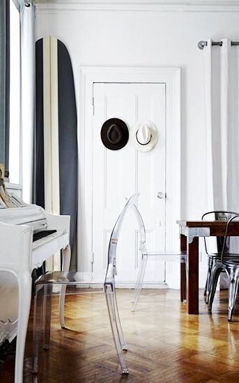 This monochromatic surfboard was designed to match this Gramercy Park apartment of world traveler  Kristin Barone . Photo: Michael Mundy/An Afternoon With.