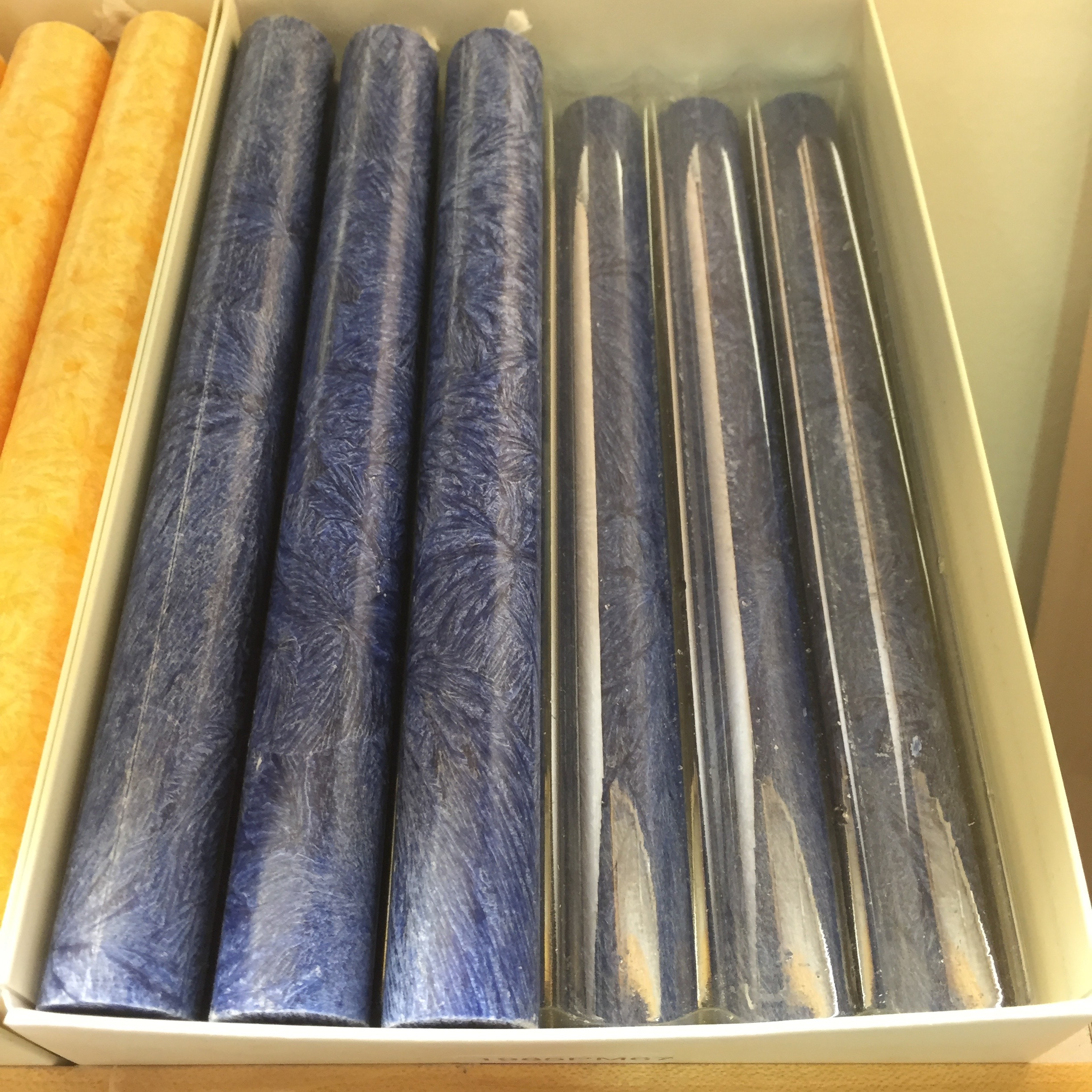 In blue they look like dyed indigo.