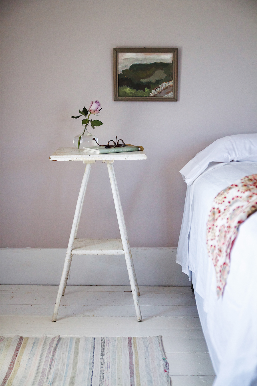 A bedroom in Julie Carlson's Cape Cod cottage painted Peignoir.