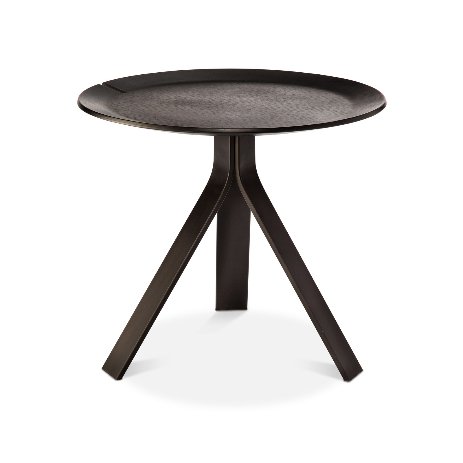 The drinks table you know you need. Note that the tripod legs don't extend past the tabletop diameter — key for small spaces.