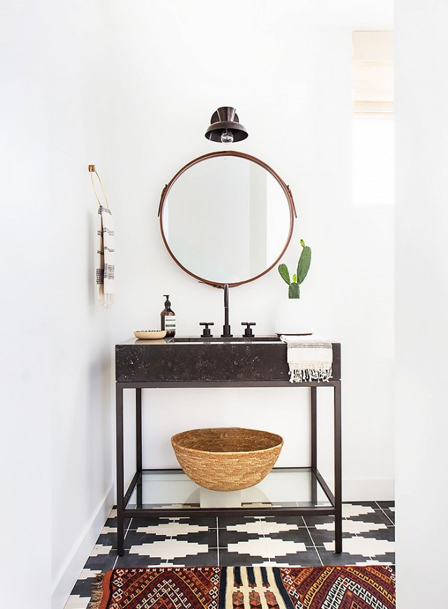 Love a decorated bath. Styling is on point! Design:  Amber Interiors . photo: Tessa Neustadt.