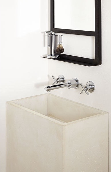 Here's a closer look at the shaving station with the  Percy Wall-Mouted Faucet with Cross Handles.