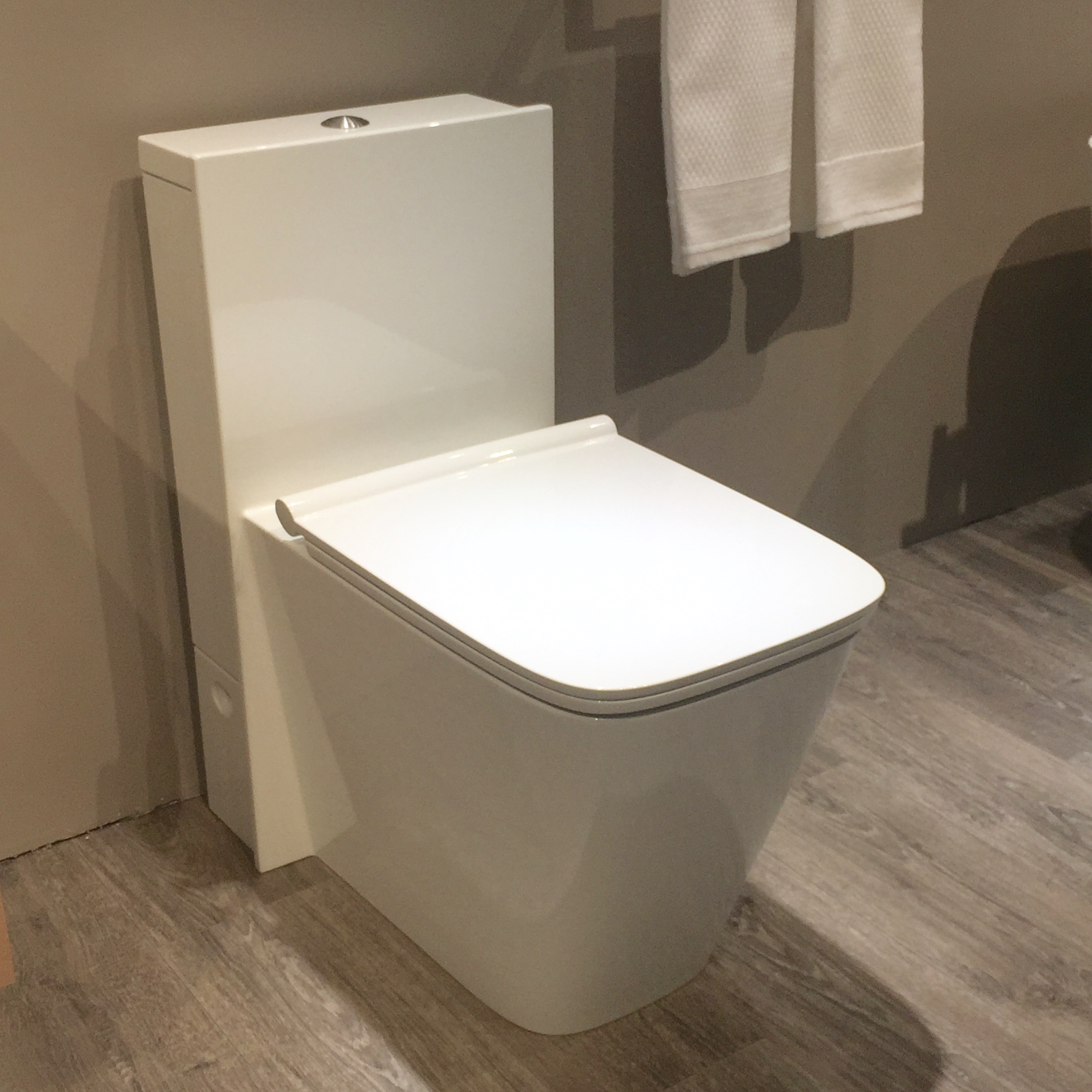 When a wall-hung toilet isn't possible this one is at the ready. I love its monolithic look.