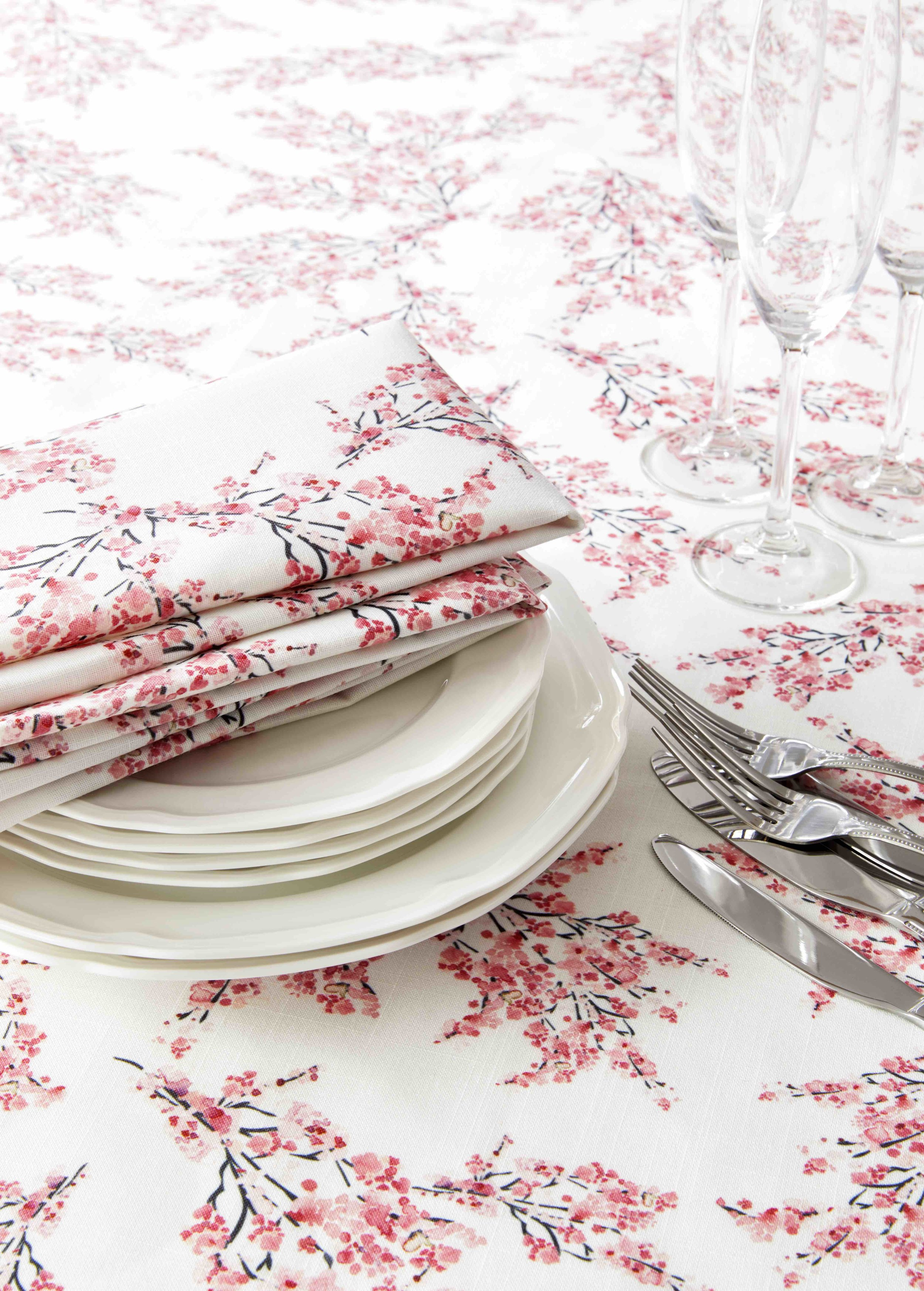 3. Cherry Blossom Napkin and Tablecloth