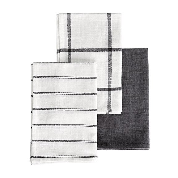 Personal policy: never enough tea towels, espesh neutral ones that I can take to style any kitchen. These.  Tea Towels  in grey/white, $45/set of 3