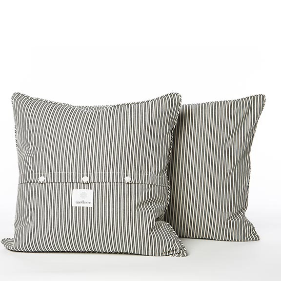 Long live ticking. Long live stripes.  Ticking Stripe Cushion covers , $42.