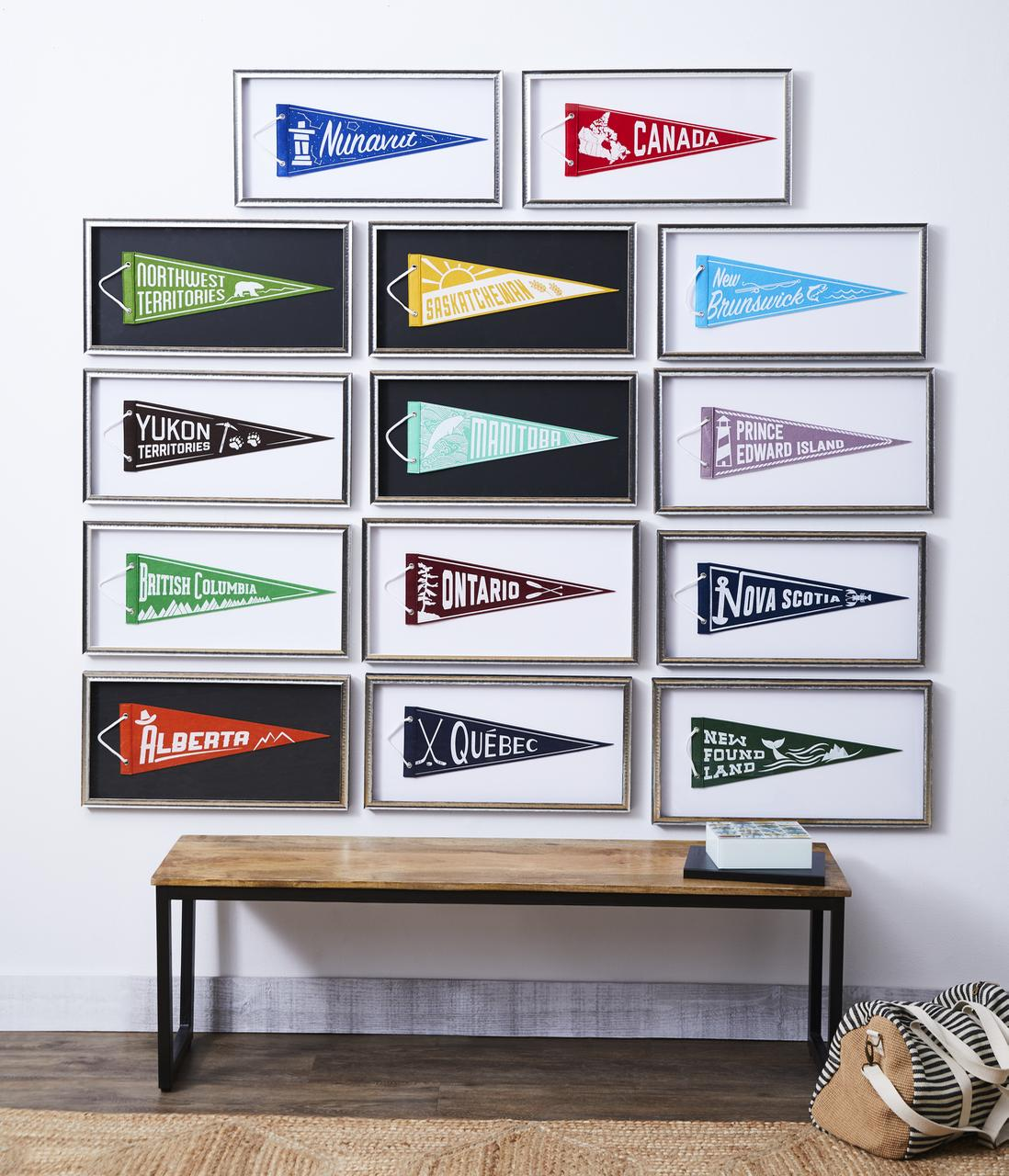 Love pennants! Since there is one for every province and territory I decided to hang them in a grid in a loosely West to East arrangement. They aren't all in identical frames though, so that made spacing a challenge. I think the unevenness gives it a more collected look.
