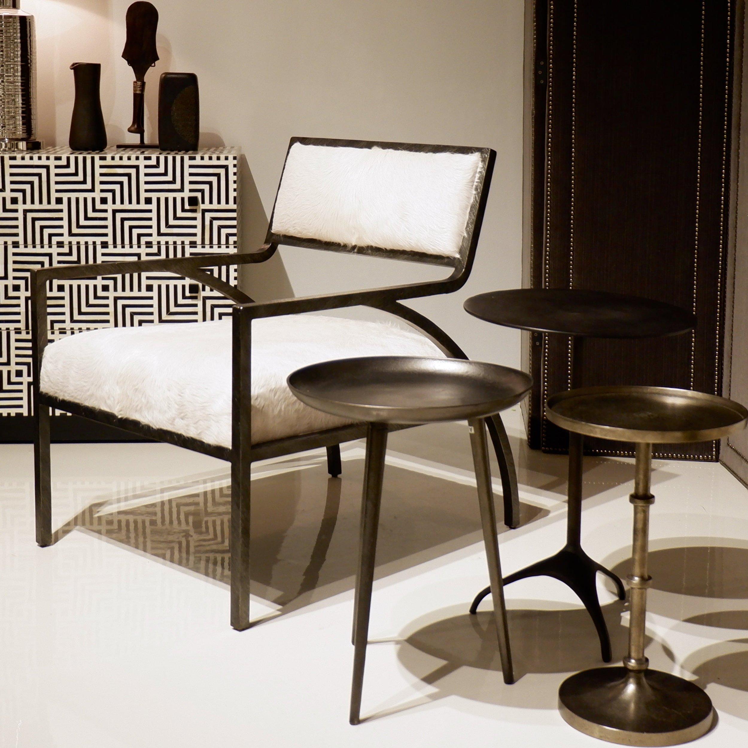 A hair-on-hide chair at Bernhardt.