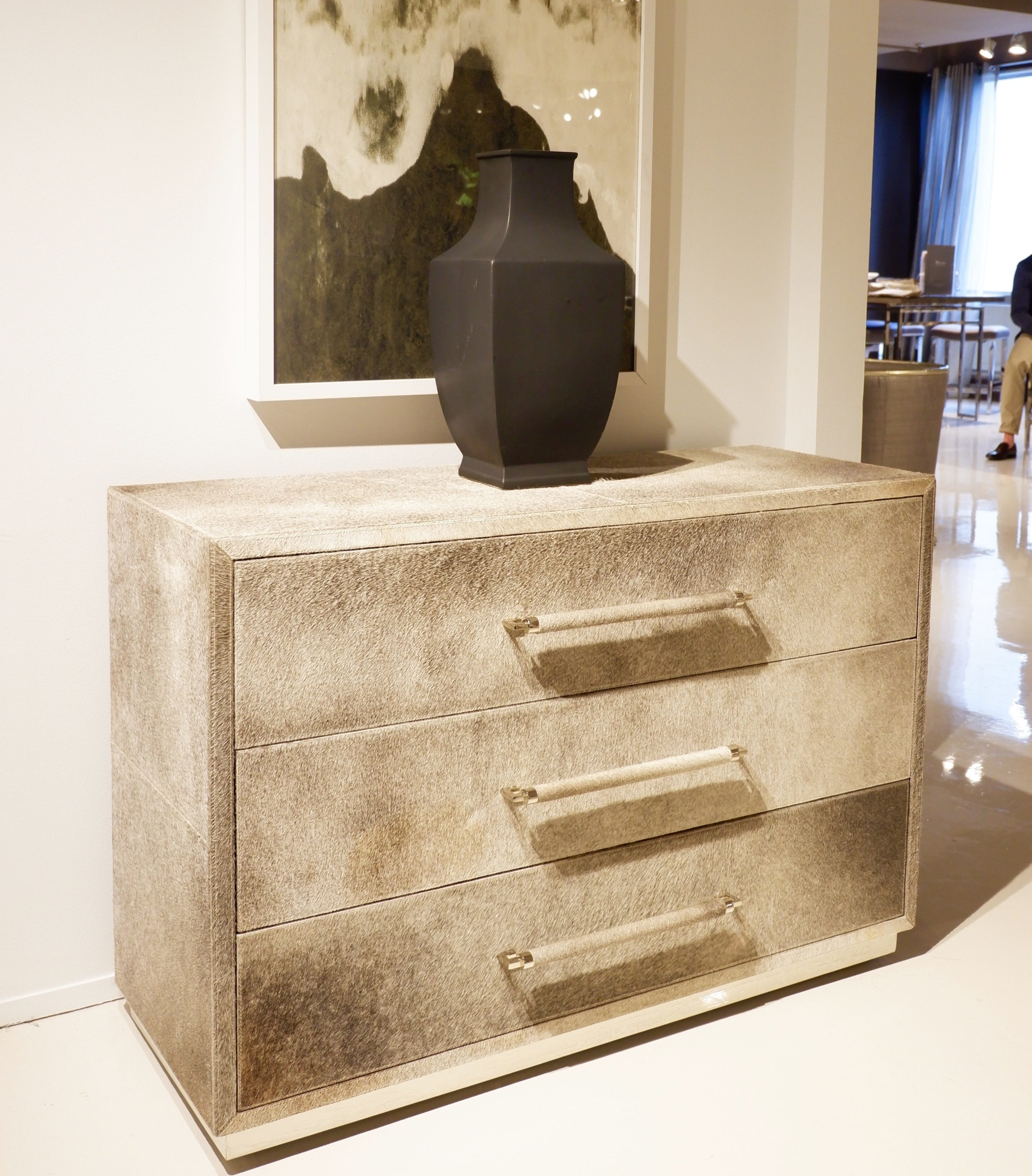 A hide-covered chest at Bernhardt.