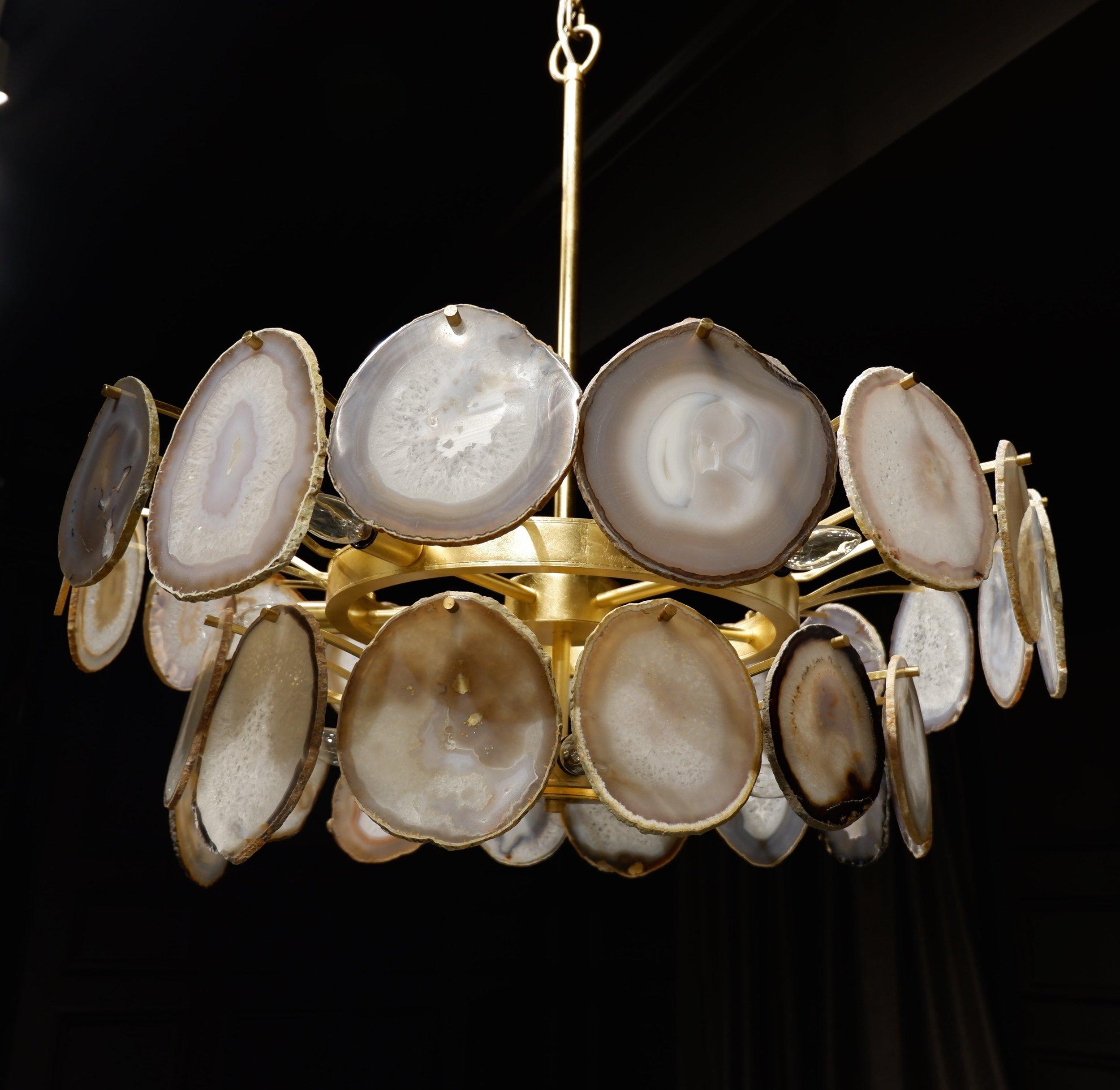 Agate slice chandelier at Bernhardt.