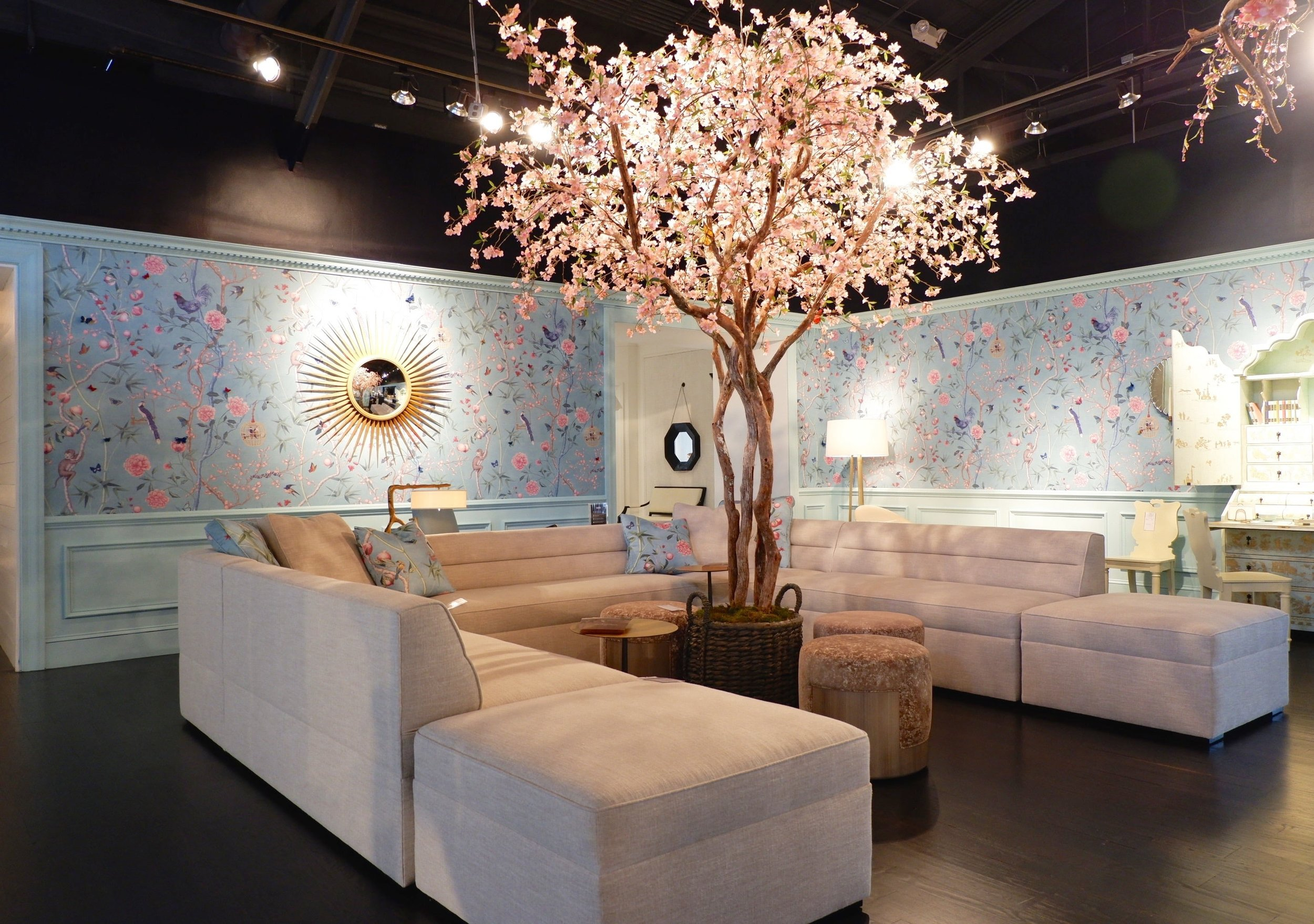The glorious entry gallery at Baker Furniture featured this Kara Mann ginormous sectional with channel back upholstery.