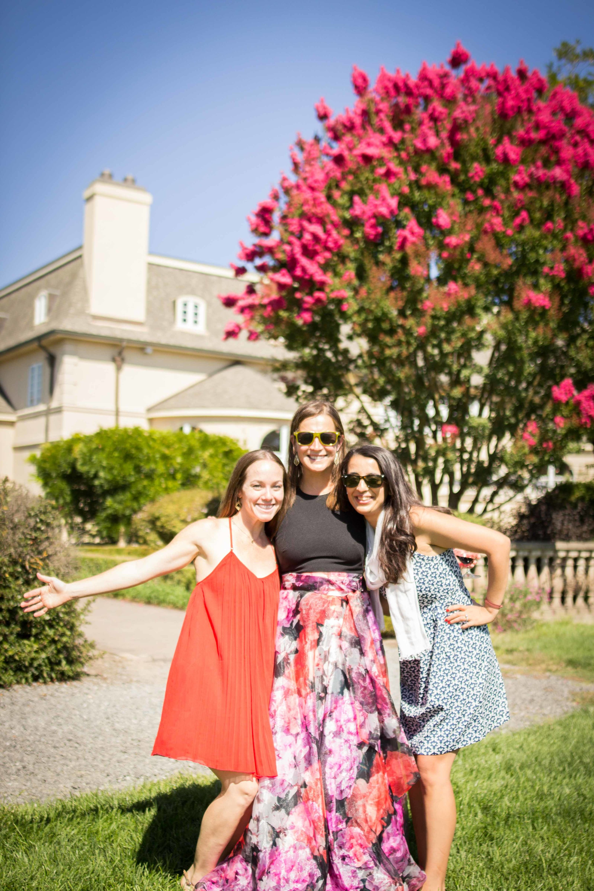 Beautiful ladies on a beautiful vineyard