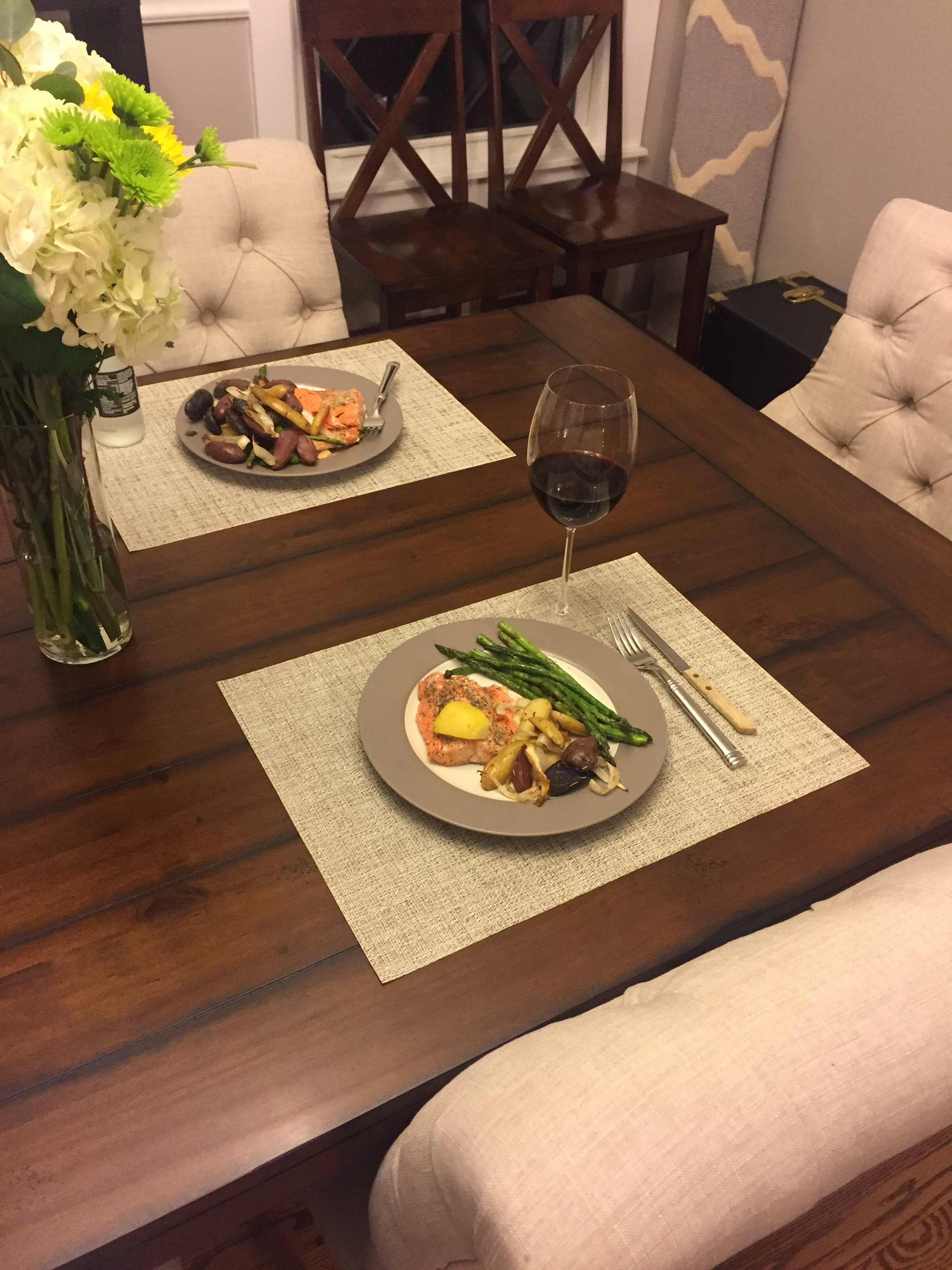 Our first dinner on a REAL table