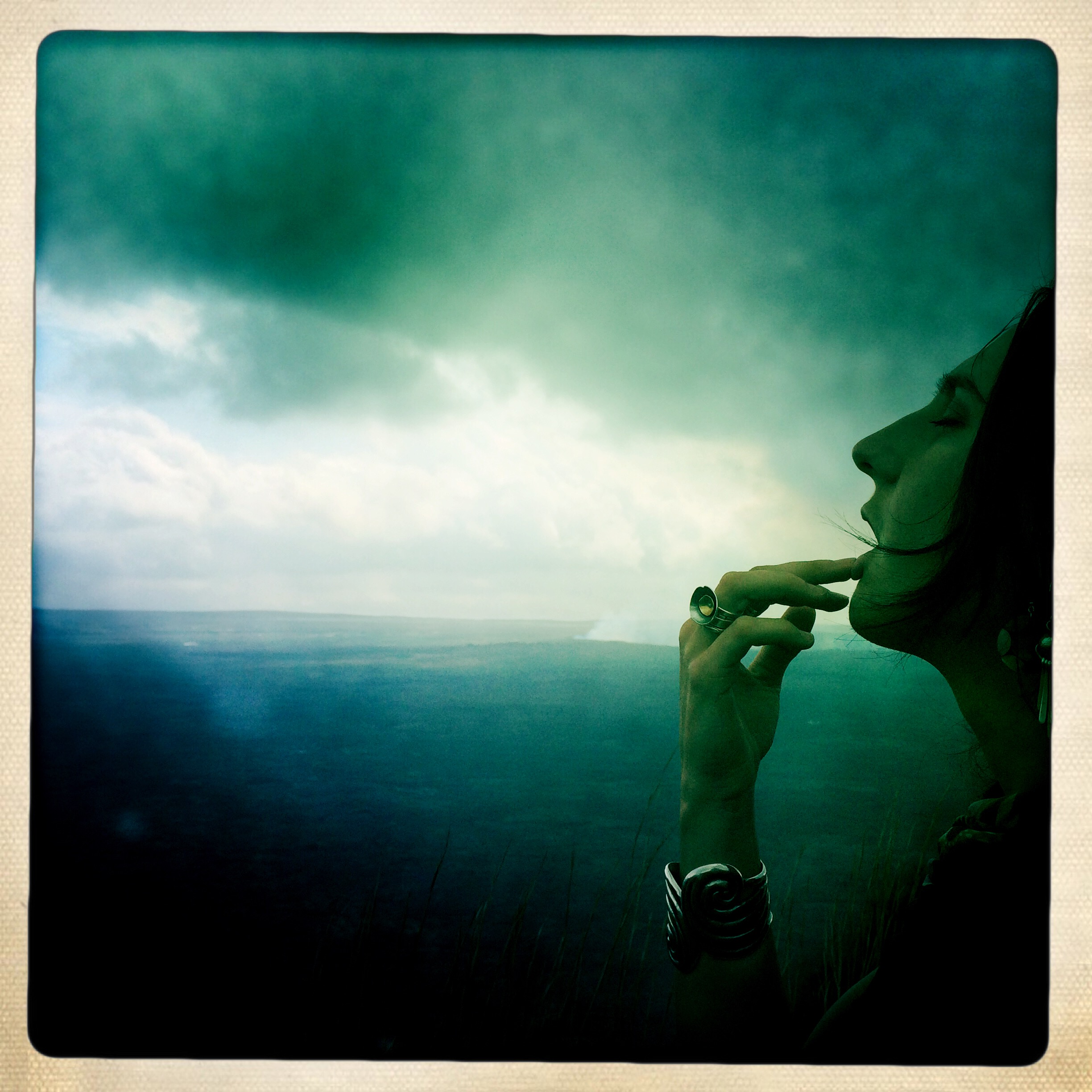 Oh For A Muse of Fire   self-portrait on the edge of the Kilauea volcano Caldera   Hawaii, February 2015