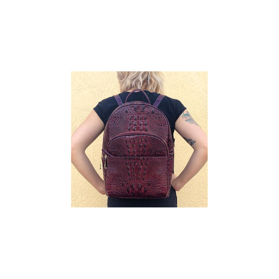 Dartmouth Melbourne leather backpack in xo-blood, Brahmin.