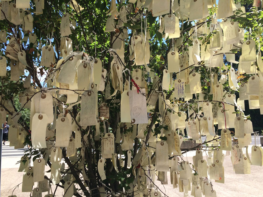 Wish Tree.  No Yoko Ono exhibition is complete without the recognizable  Wish Trees  where visitors are invited to write and share their wishes. There were a few outside that greeted you and a couple more inside the glass lobby. I am always attracted to the human element. It is so touching to seeing a collection of fluttering of tags with different handwritings and languages and dreams.