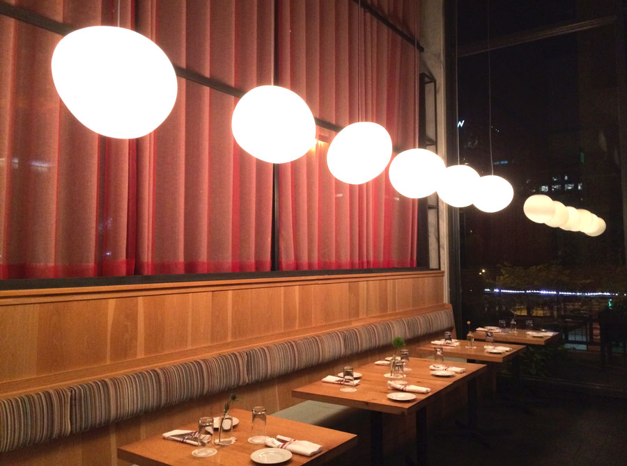 Orbs.  The lovely and irregularly shaped pendant lights at  White Oak .