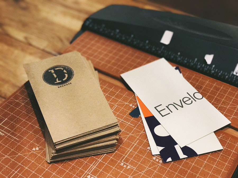 Go slow. Grow slow.   We always opt for post-consumer material. Just one FedEx envelope yields 15 jewelry tags. The process is laborious, but we believe that a bit of sweat is worth it in the long run.