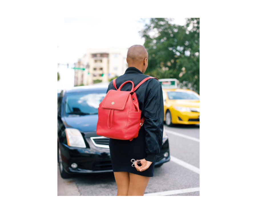 Tory Burch  London Flap Backpack in Cherry.