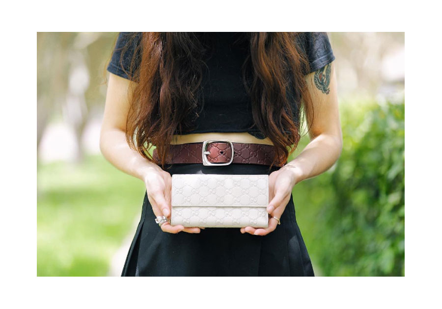 Gucci Guccissima leather belt and wallet.