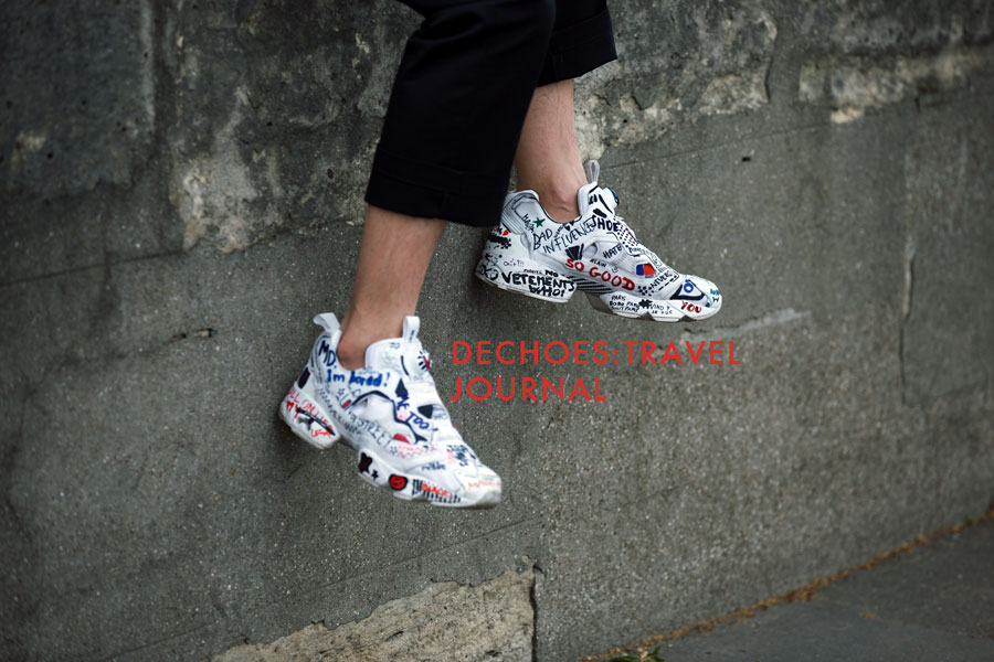 Paris street view. Mikey spots the  Vetement + Reebok   InstaPump Fury sneakers  perched and dangling  between the Siene River and Tuileries Garden.