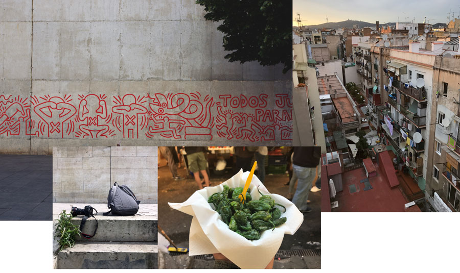 1.  Barcelona  Keith Haring Aids Mural MACBA. 2.  Barcelona  View from Mikey's Airbnb terrace in El Raval District 3. Mikey's gear resting on the Seine, Canon 5D Mark III with a 16-35mm lens, Herschel backpack. 4.  Barcelona  La Boqueria, popular tapas, pimentos de padron.