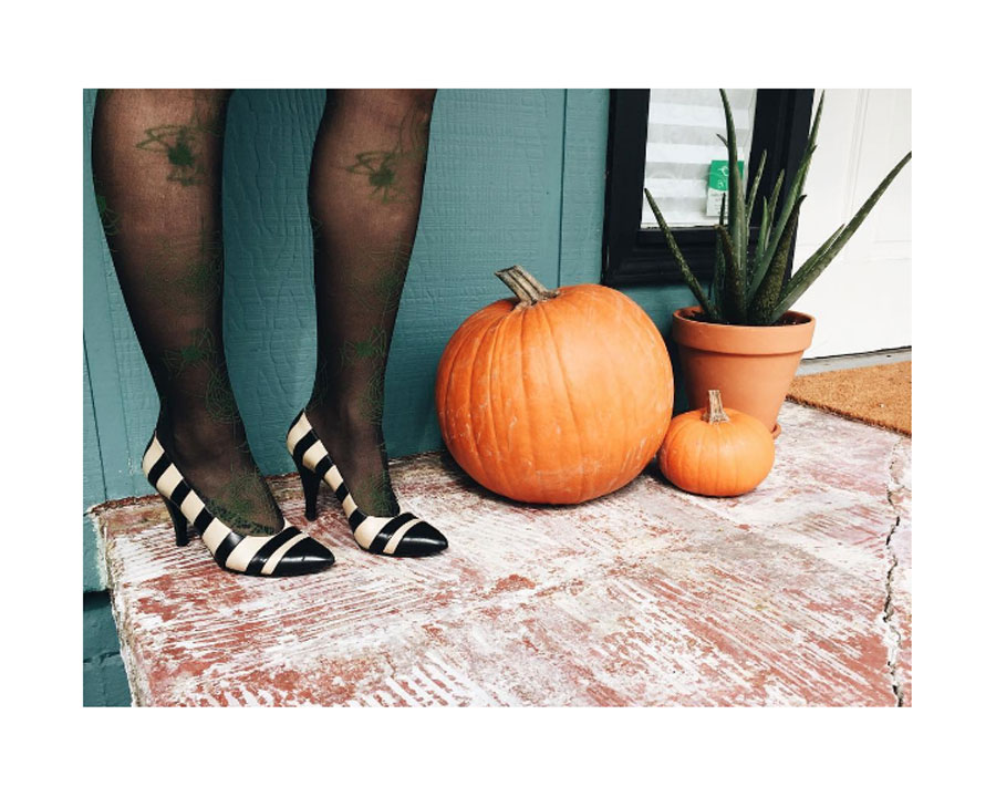 Trick-or-Treat.  Vintage striped leather heels,  Chanel .