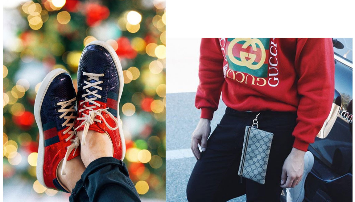 'Tis the Season.  Ace metallic snakeskin trainers from  Gucci . Monogram pouch from  Gucci .