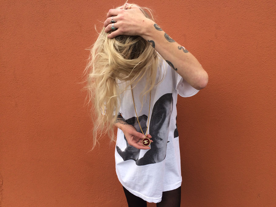 Feel the Byrne.   Vintage  David Byrne (Luaka Bop Records) t-shirt, repurposed vintage  Chanel  necklace.