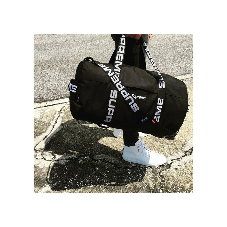 Black & white duffle (SS18),  Supreme . 100mm Link Leather Mid-Top Sneakers,  Buscemi .