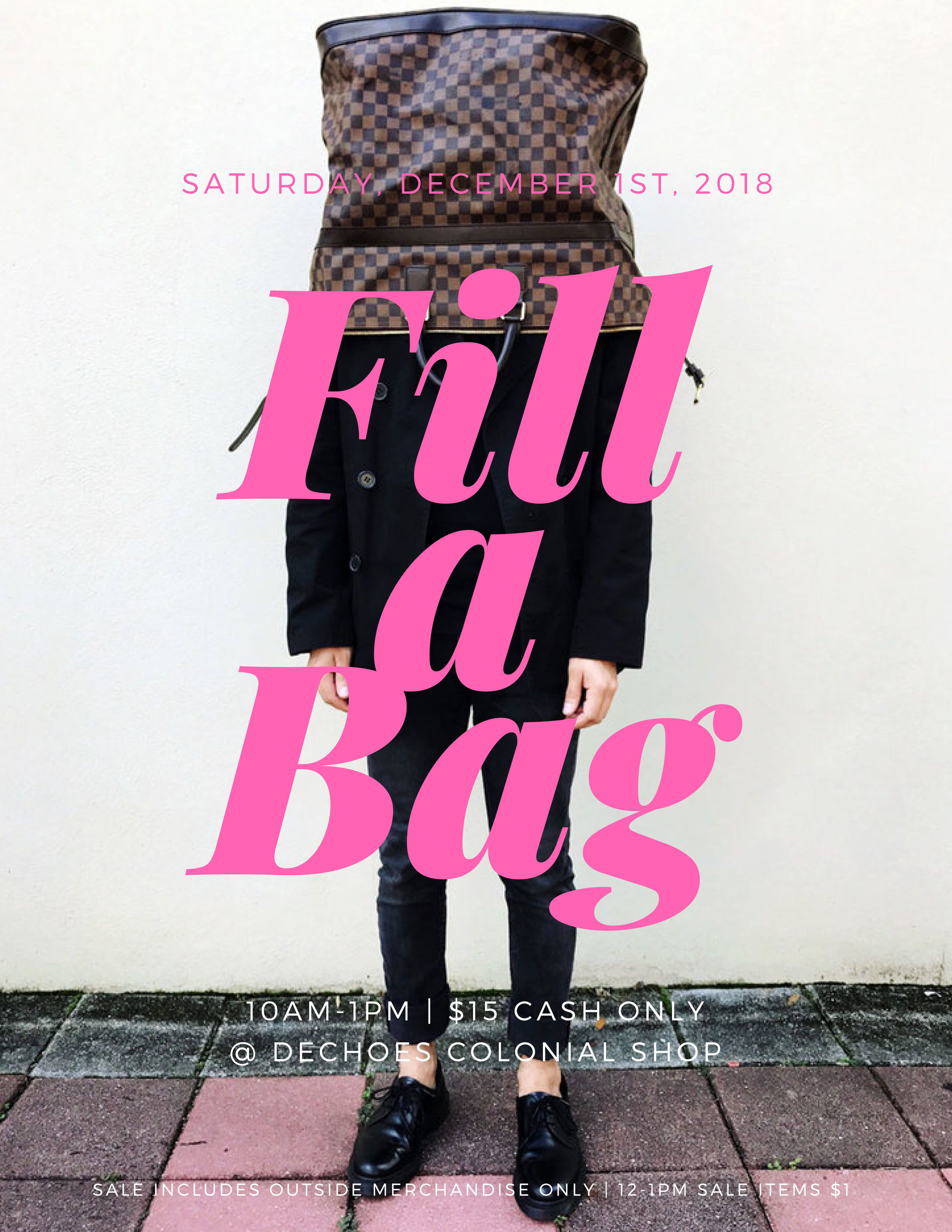 We open at 9AM bright and early so you can shop and get your number for the line-up. Then, go crazy and stuff some bags! It's a bag sale :)
