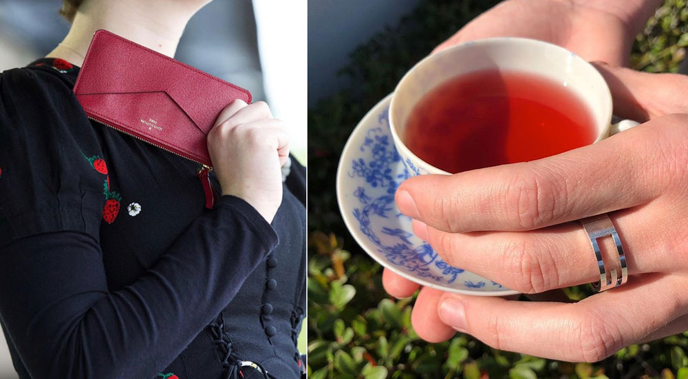"""I ❤️ tea time.  (L) Small zip pouch,  Louis Vuitton . Embroidered dress, vintage. (R) Porcelain saucer and cup, vintage. Cut-out """"G"""" ring,  Gucci ."""