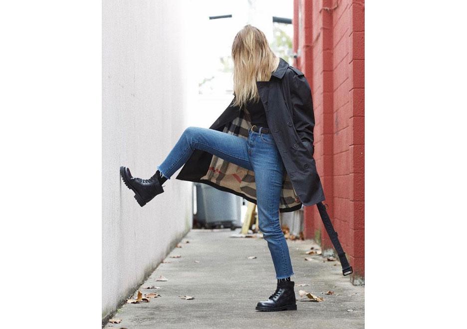 Burberry  Kensington trench coat, Hologram star-print combat boots,  Valentino .