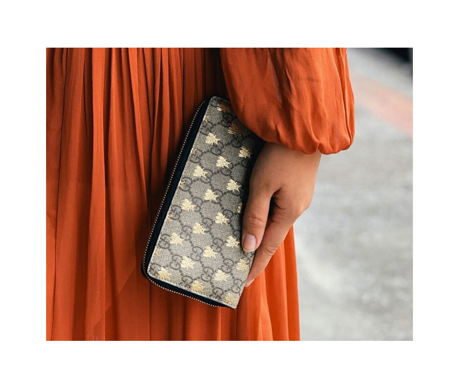 Candyman reference: Honey bees.  Linea A Supreme zip around wallet,  Gucci.