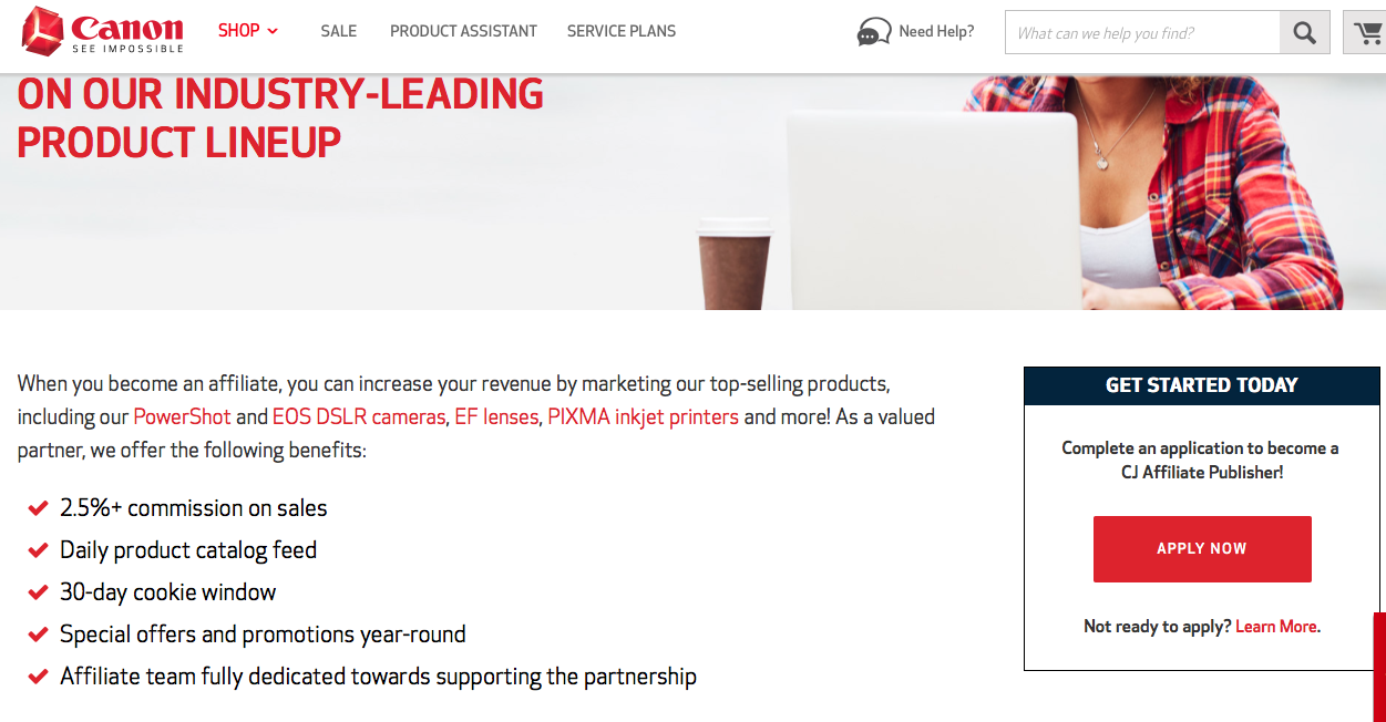 Canon offers their affiliates a large selection of marketing materials along with frequent promotions and special offers