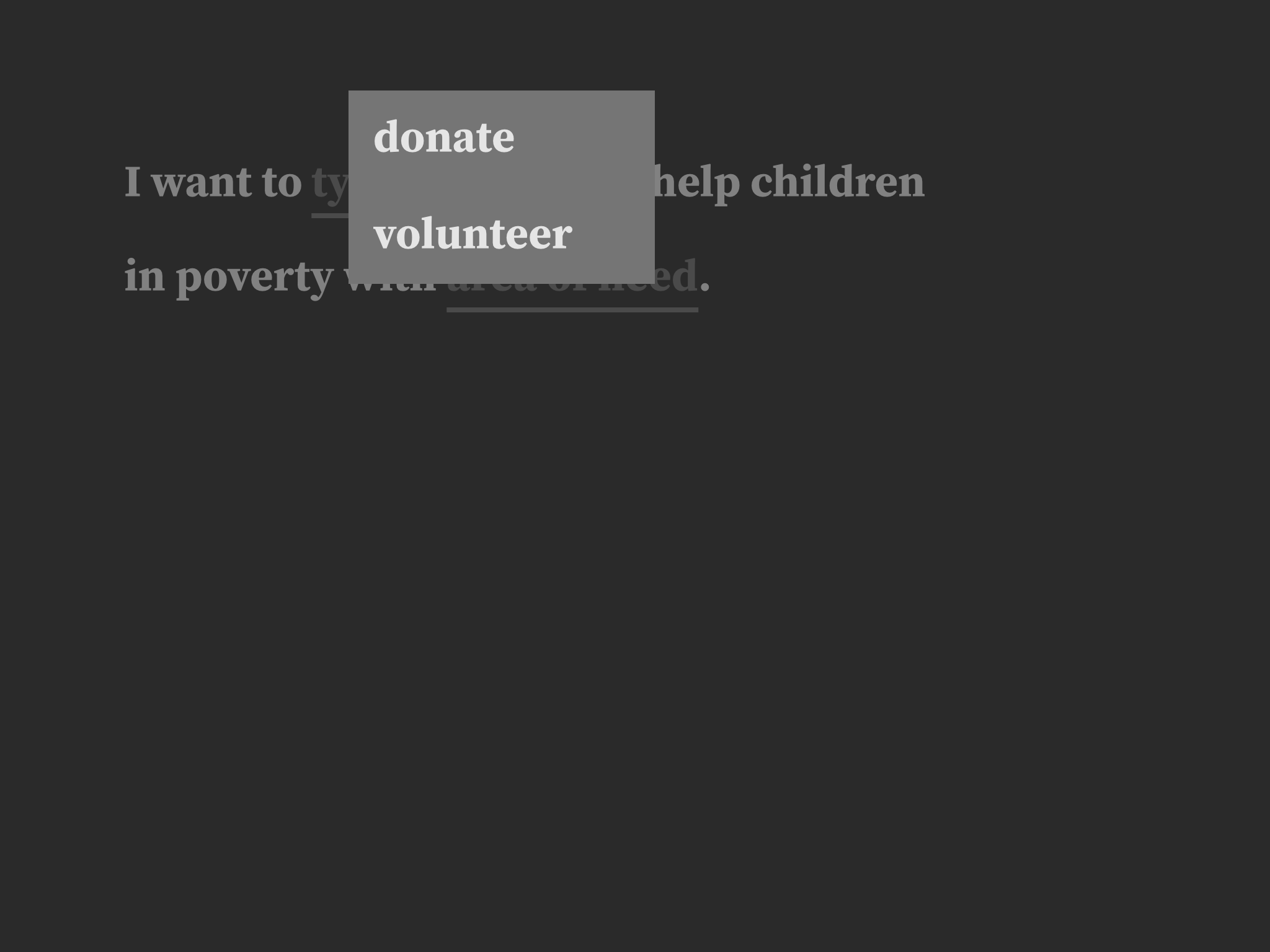 When type of giving is tapped, two options are presented: donate and volunteer.