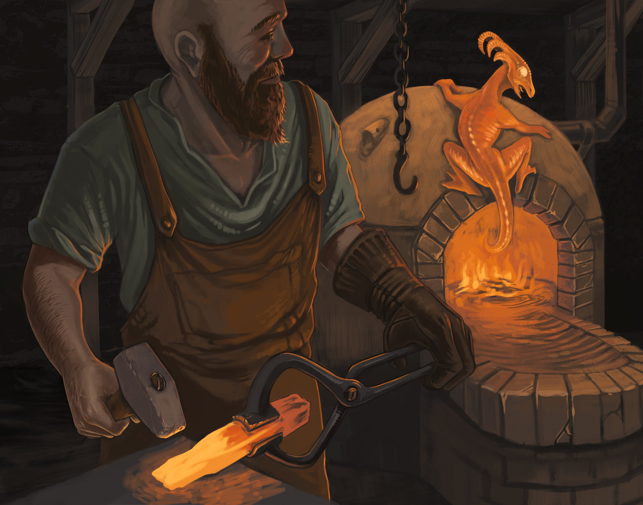 The blacksmith and his helper.