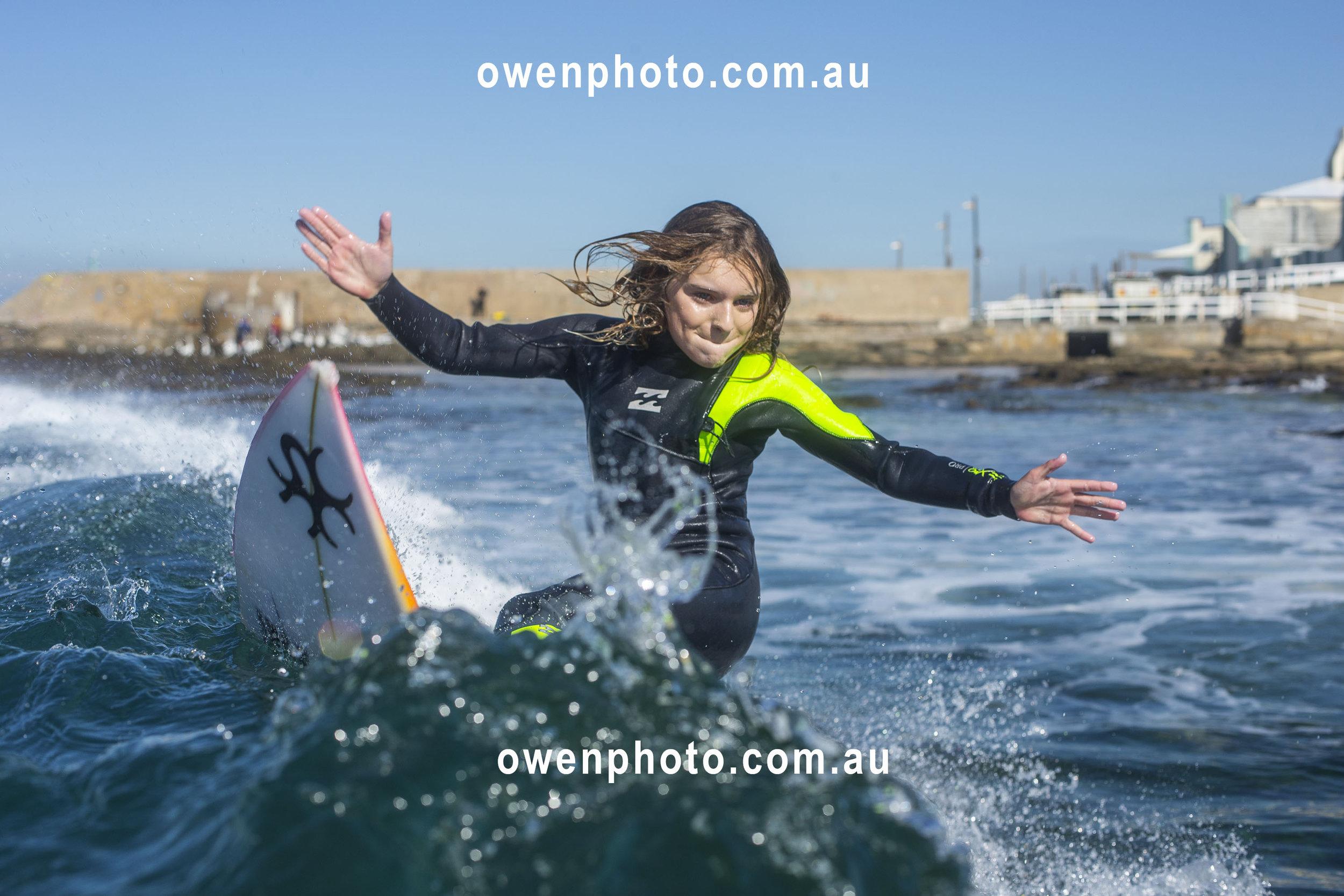 Sabre Norris surfing, Ellen Show, - owenphoto.com.au