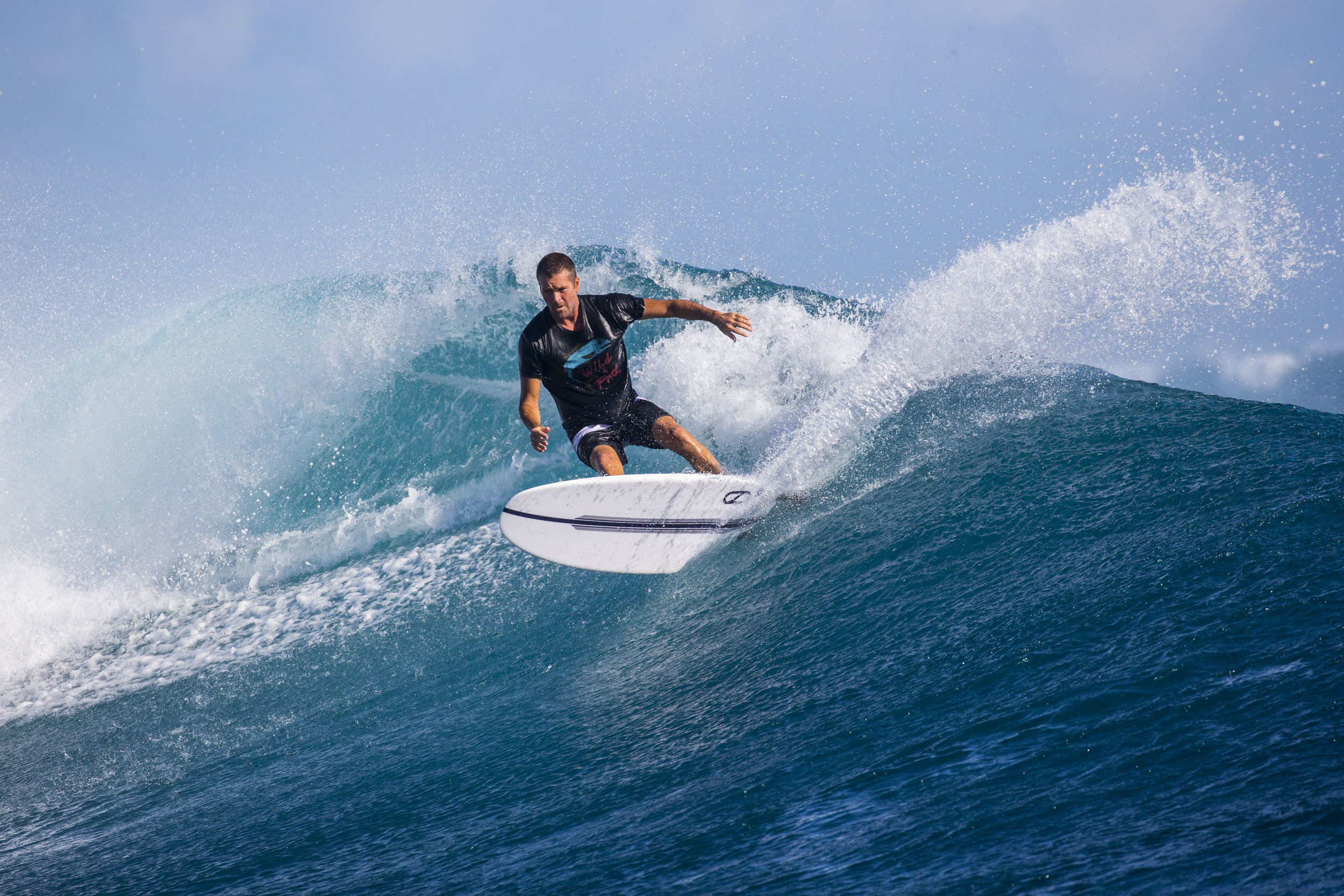 Pete Evans surfing cloud break in Fiji.