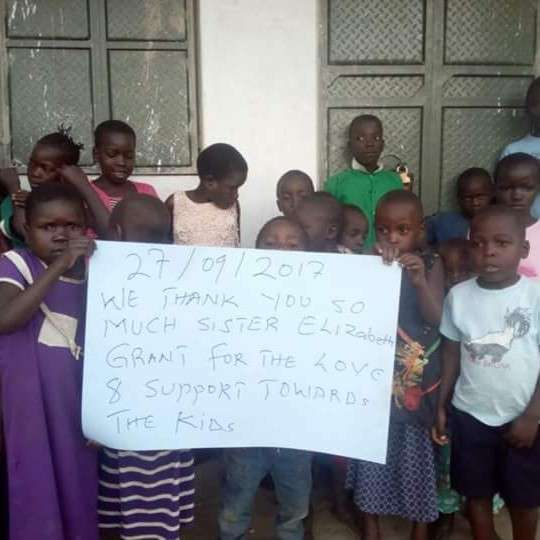 A personalized message and picture sent from the children directly benefited from her hard work.