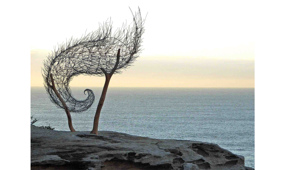 Bronwyn Berman:  Wind Spiral II ,  Sculpture by the Sea, Bondi, 2006, Stainless Steel, Aluminium, Timber support. Photo courtesy of the artist