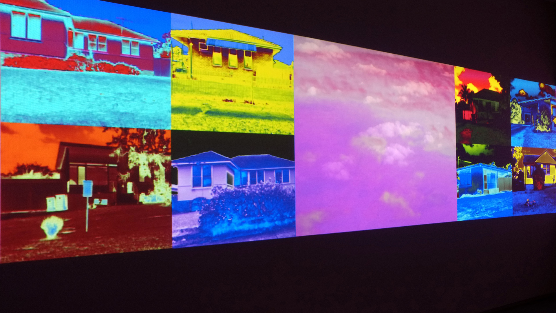 Khaled Sabsabi:  Airland   ,  2012, Exhibition view. 8 channel video installation with audio. Photo courtesy of the artist.