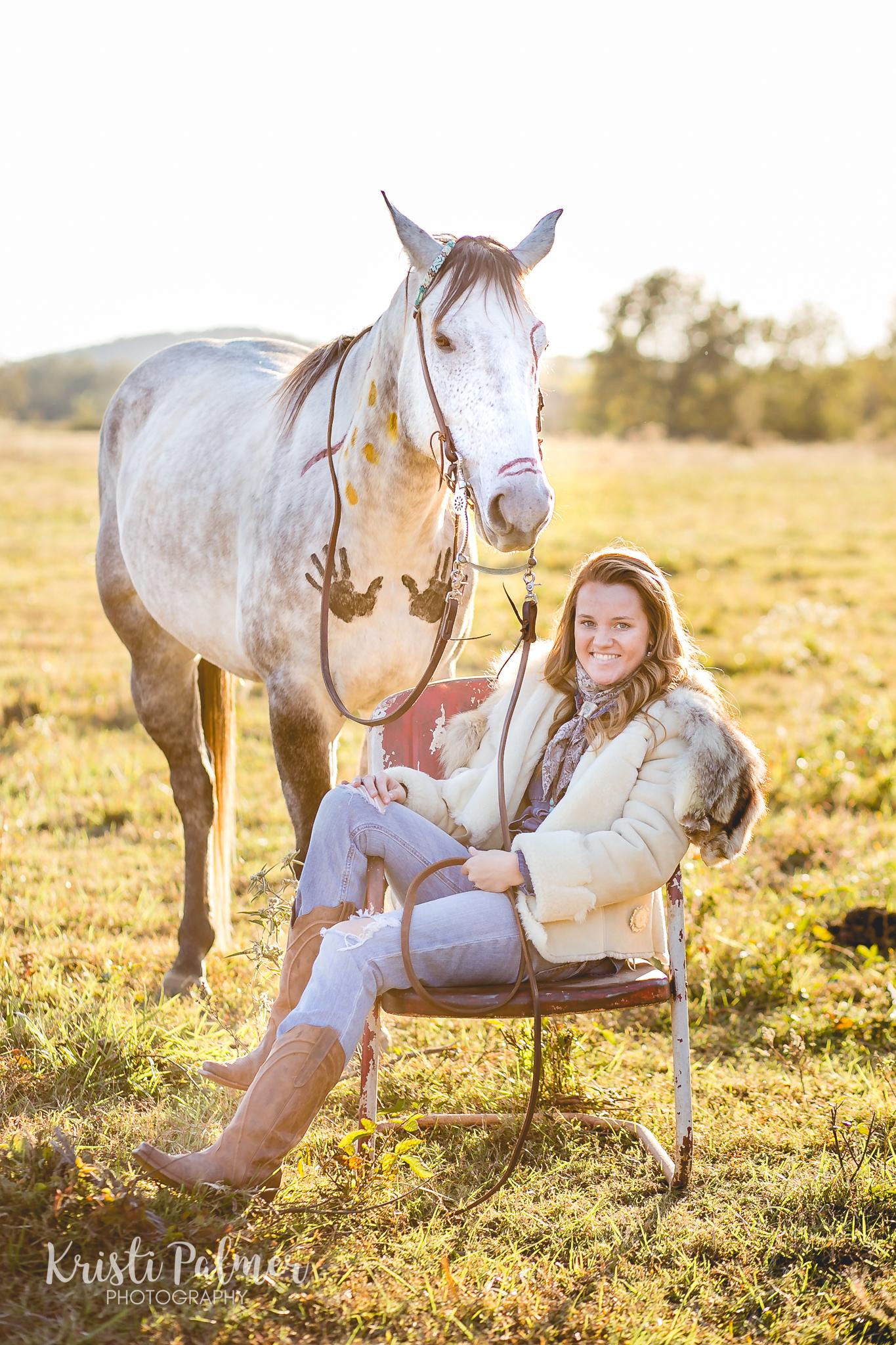 senior girl portrait with horse