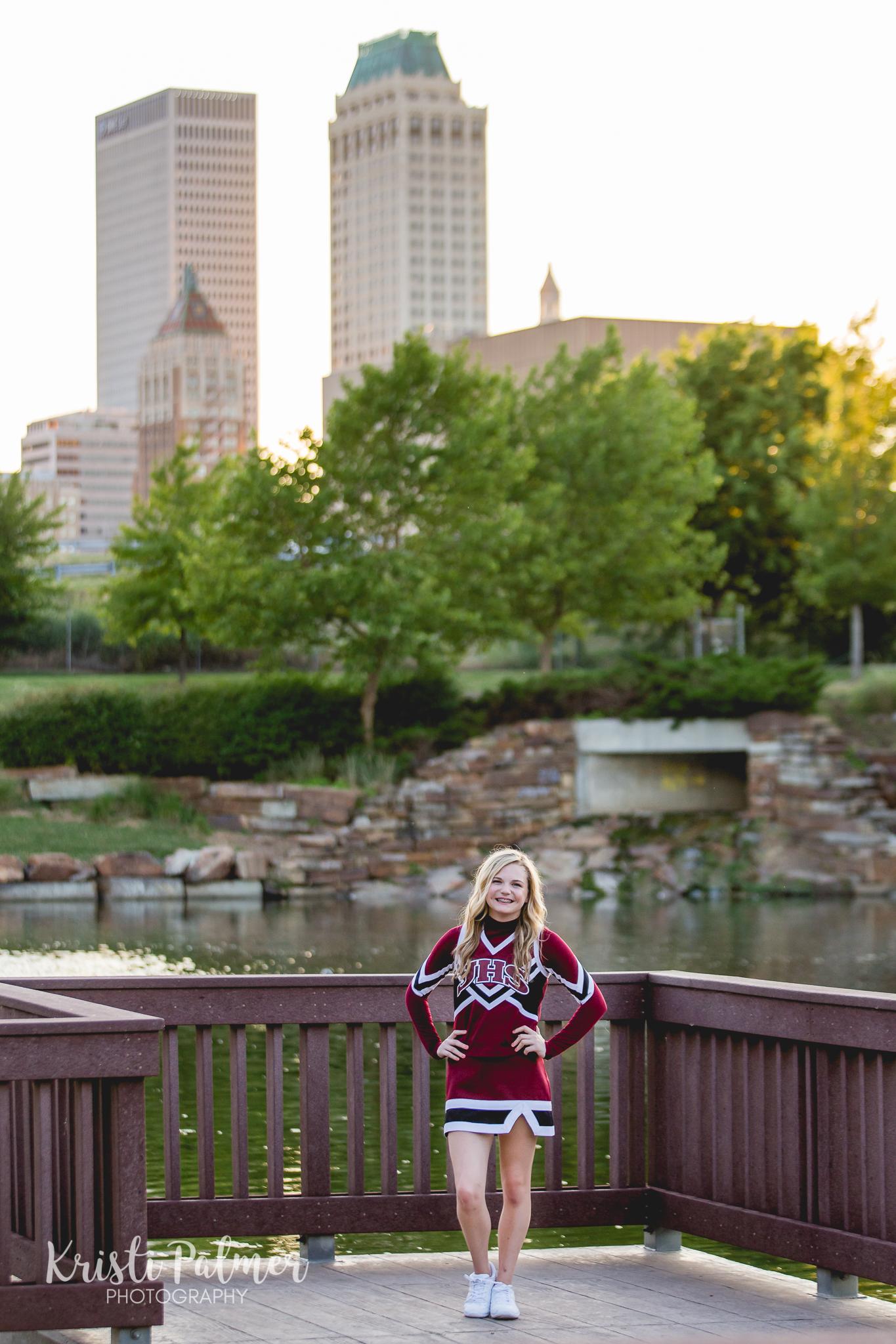 cheerleader teen portrait tulsa skyline