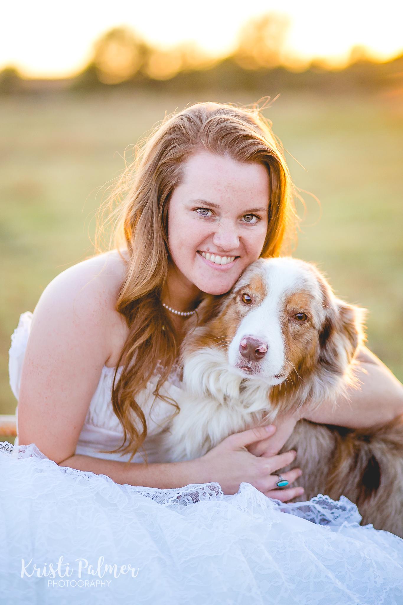 senior girl photo with dog