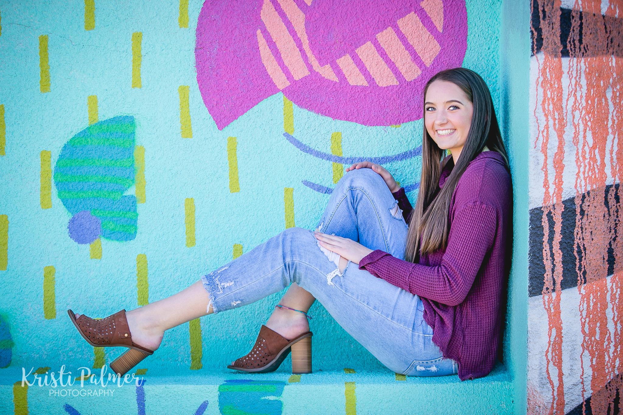 senior girl downtown tulsa mural